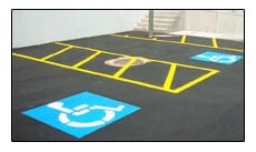 Picture of handicapped pavement markings