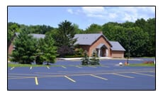Picture of Divine World Catholic Church parking lot that was line striped by Ohio Paving.