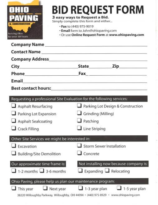 Ohio Paving & Construction's bid request form, which can be filled out and faxed or mailed at your convenience.