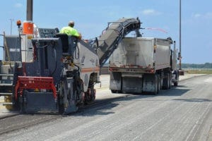 Milling machines removing asphalt at Cleveland's IX Center in 2015.