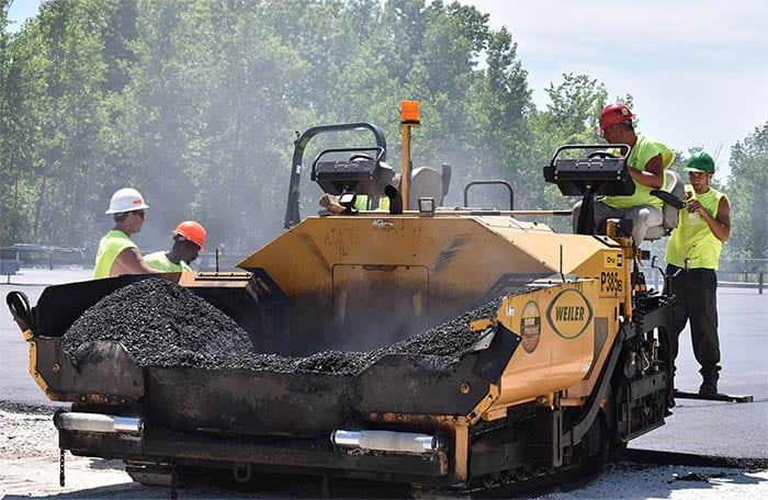 Ohio Paving & Construction's crew laying new asphalt.