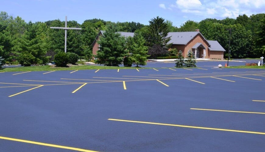 A sealcoating job we did for the Divine Word Catholic Church.